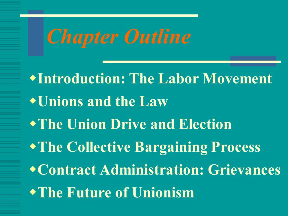Chapter Outline Introduction: The Labor Movement Unions and the Law
