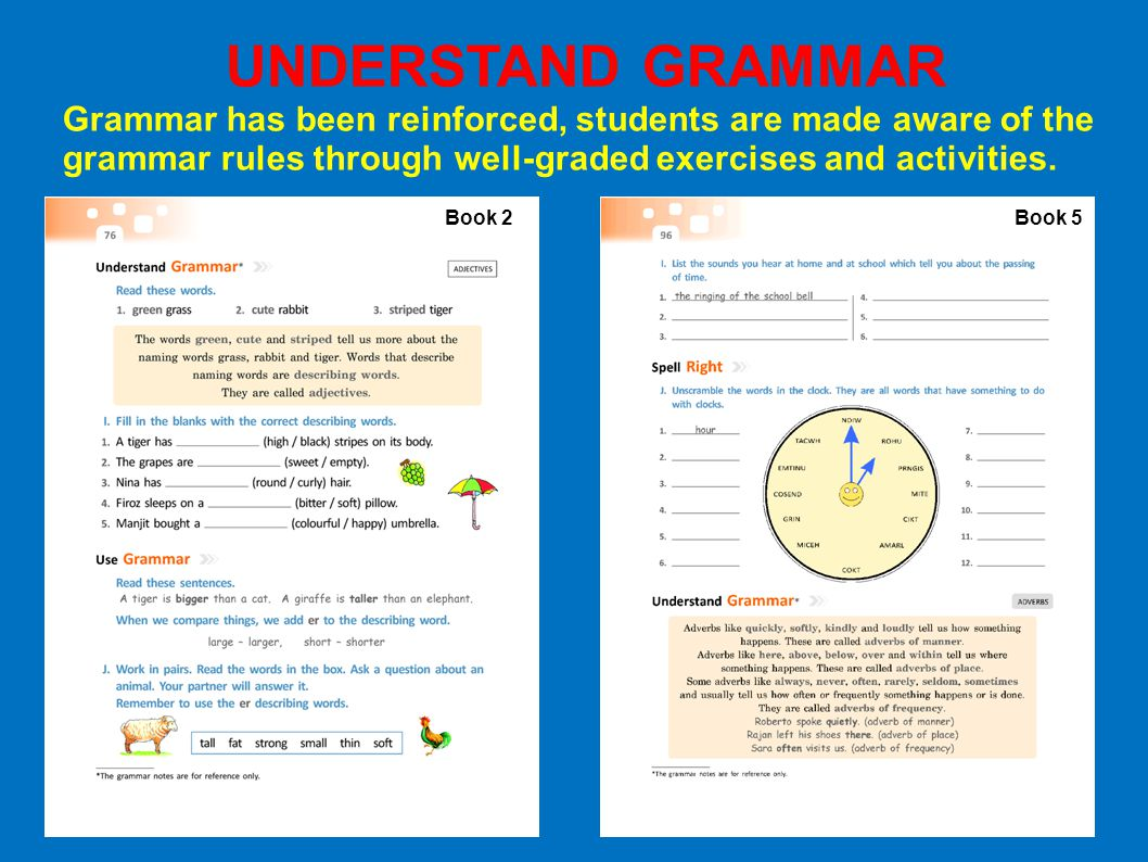 UNDERSTAND GRAMMAR Grammar has been reinforced, students are made aware of the grammar rules through well-graded exercises and activities.