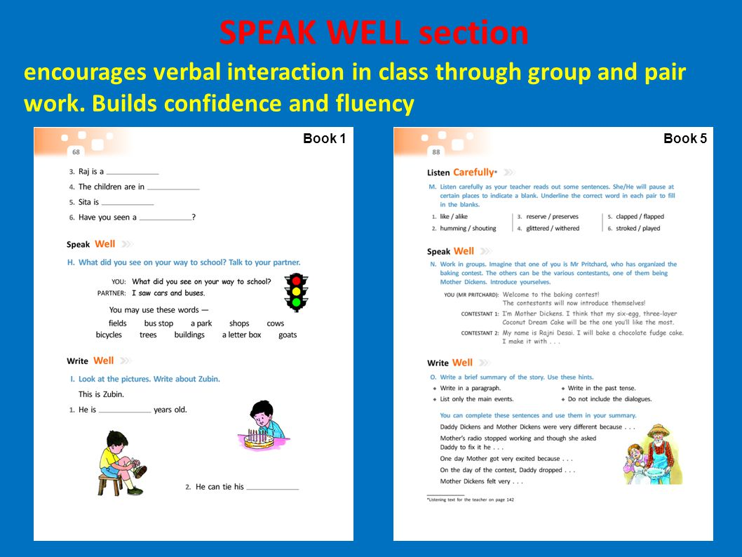 SPEAK WELL section encourages verbal interaction in class through group and pair work. Builds confidence and fluency.