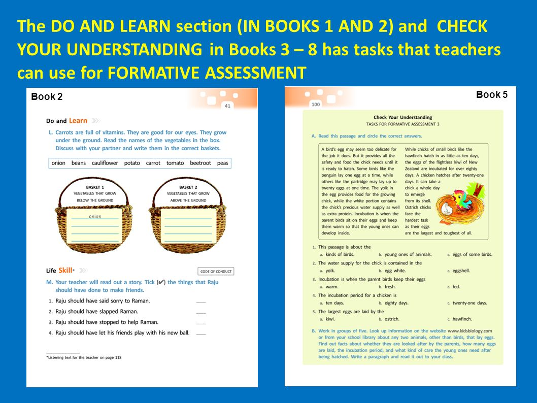 The DO AND LEARN section (IN BOOKS 1 AND 2) and CHECK YOUR UNDERSTANDING in Books 3 – 8 has tasks that teachers can use for FORMATIVE ASSESSMENT
