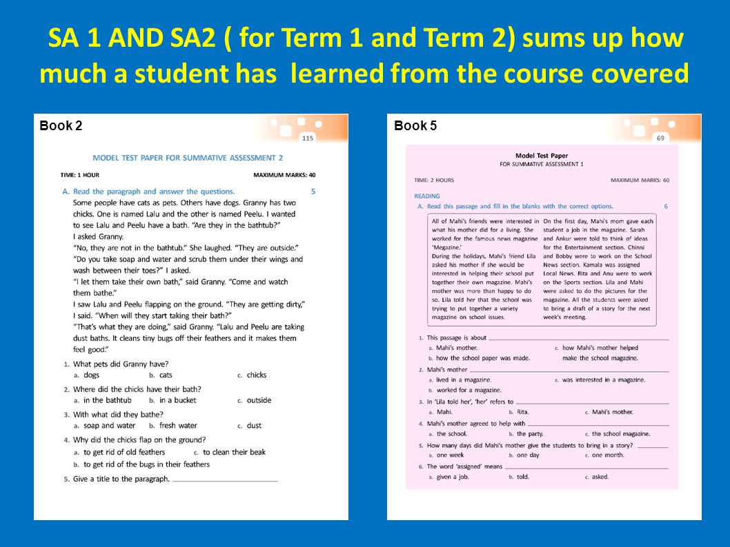 SA 1 AND SA2 ( for Term 1 and Term 2) sums up how much a student has learned from the course covered
