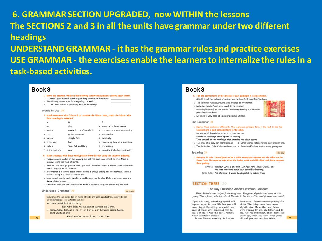 6. GRAMMAR SECTION UPGRADED, now WITHIN the lessons