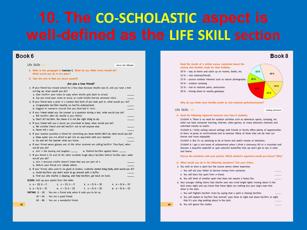 10. The CO-SCHOLASTIC aspect is well-defined as the LIFE SKILL section