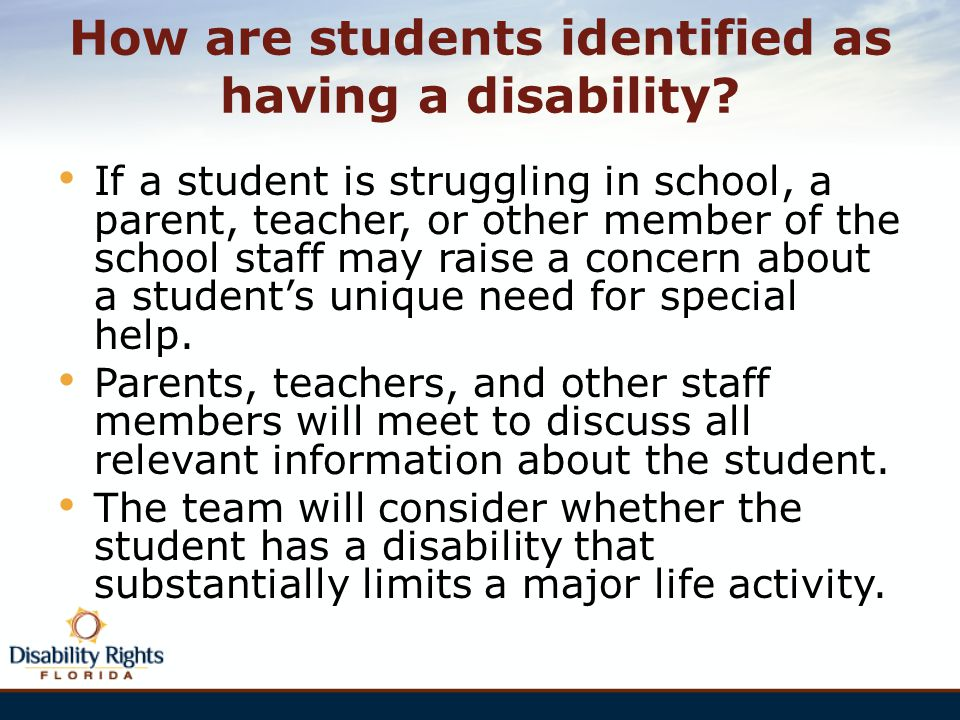 How are students identified as having a disability