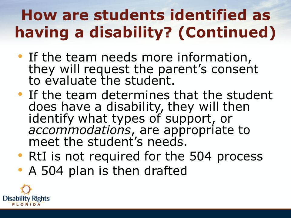 How are students identified as having a disability (Continued)