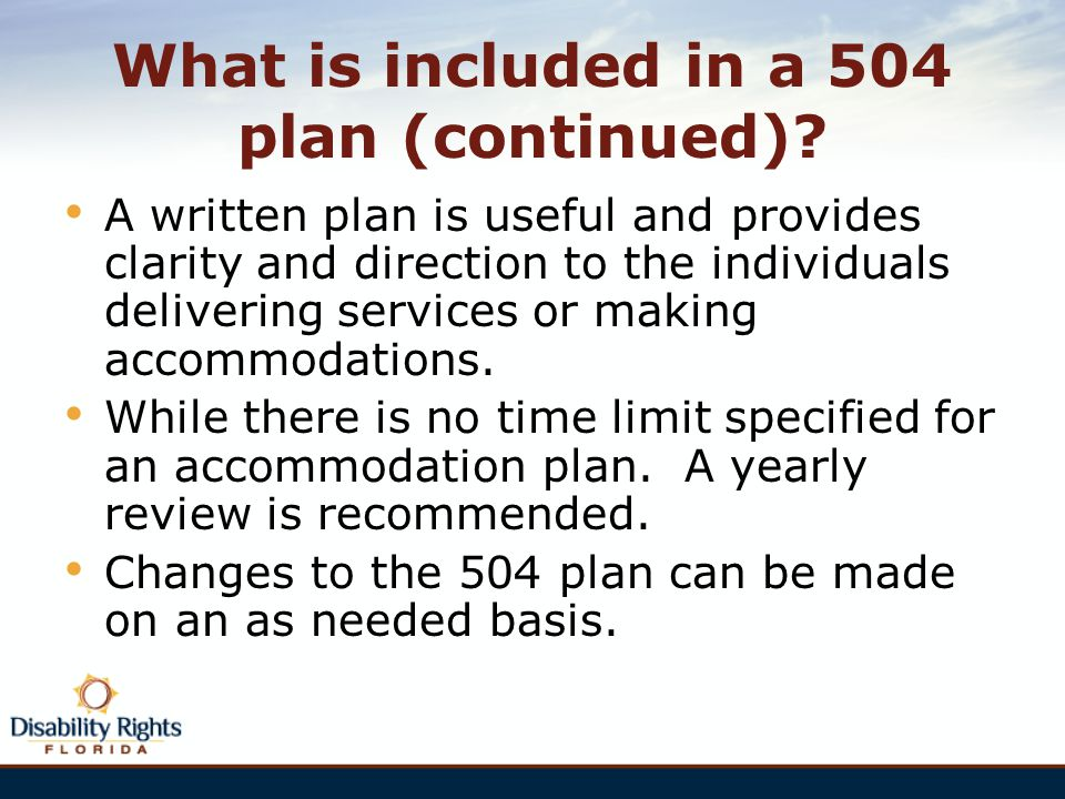 What is included in a 504 plan (continued)
