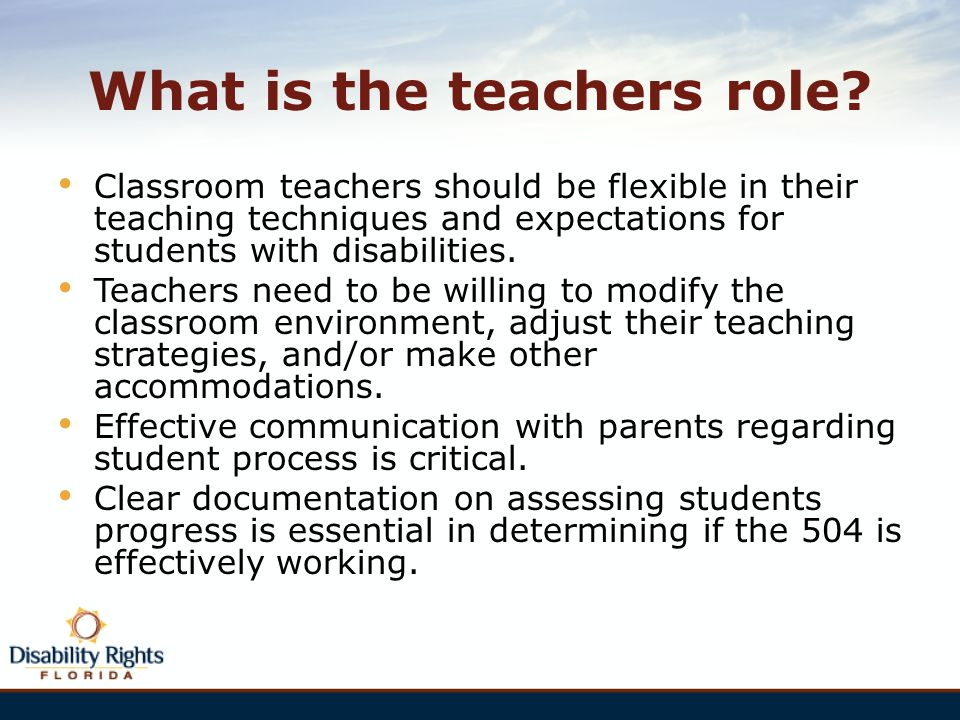 What is the teachers role