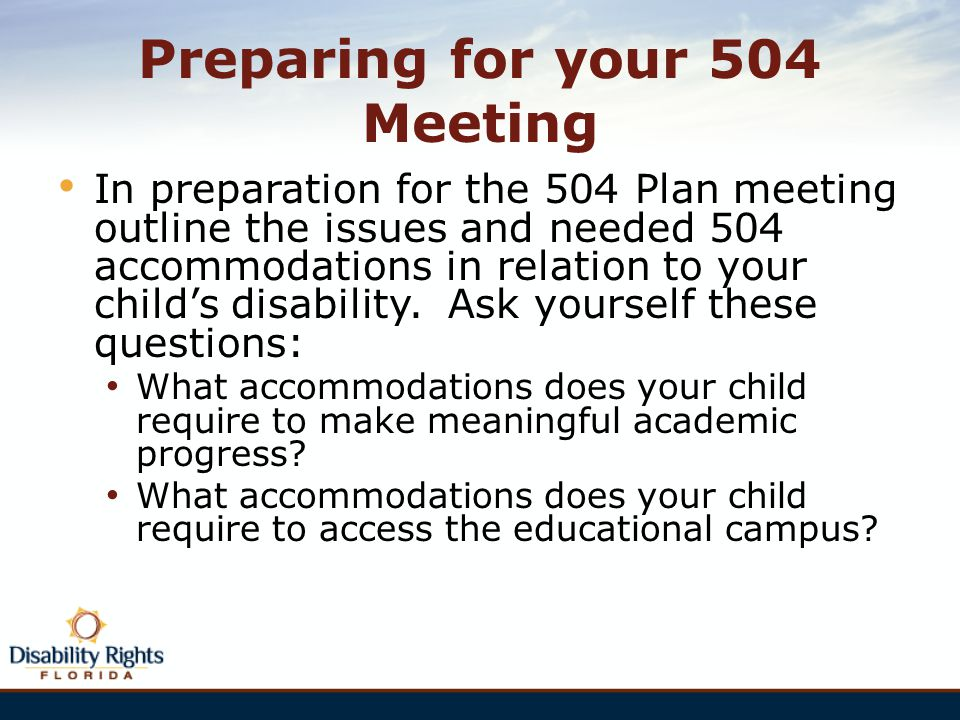 Preparing for your 504 Meeting