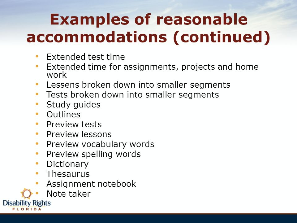 Examples of reasonable accommodations (continued)