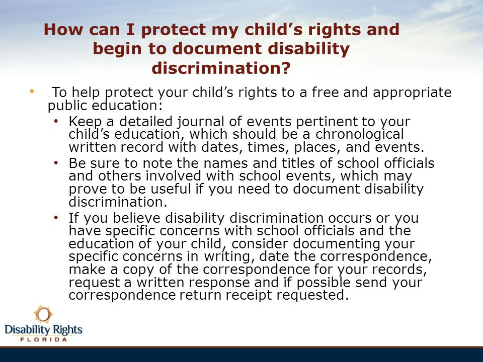 How can I protect my child's rights and begin to document disability discrimination