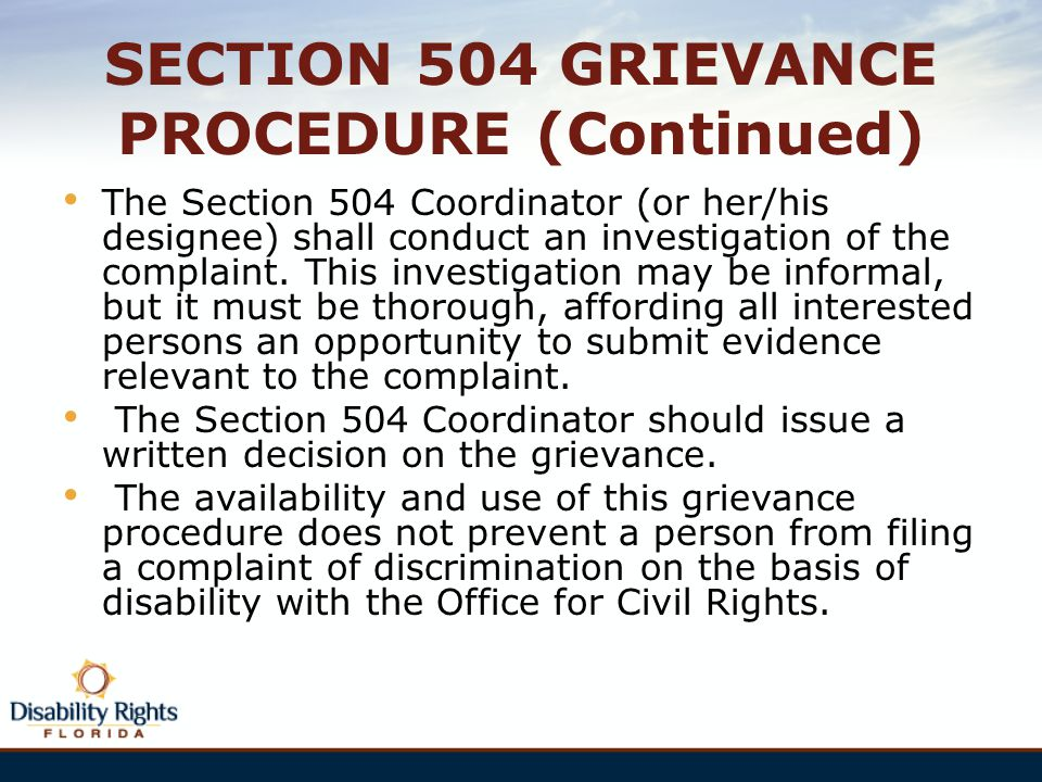 SECTION 504 GRIEVANCE PROCEDURE (Continued)