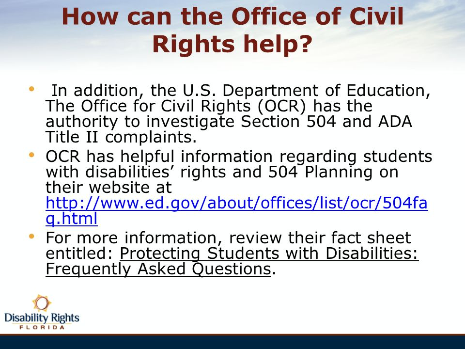How can the Office of Civil Rights help