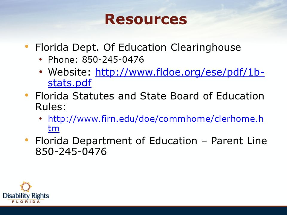Resources Florida Dept. Of Education Clearinghouse