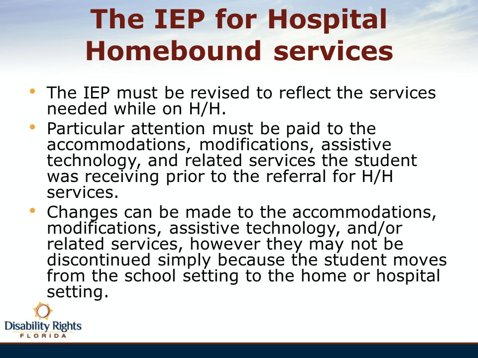 The IEP for Hospital Homebound services