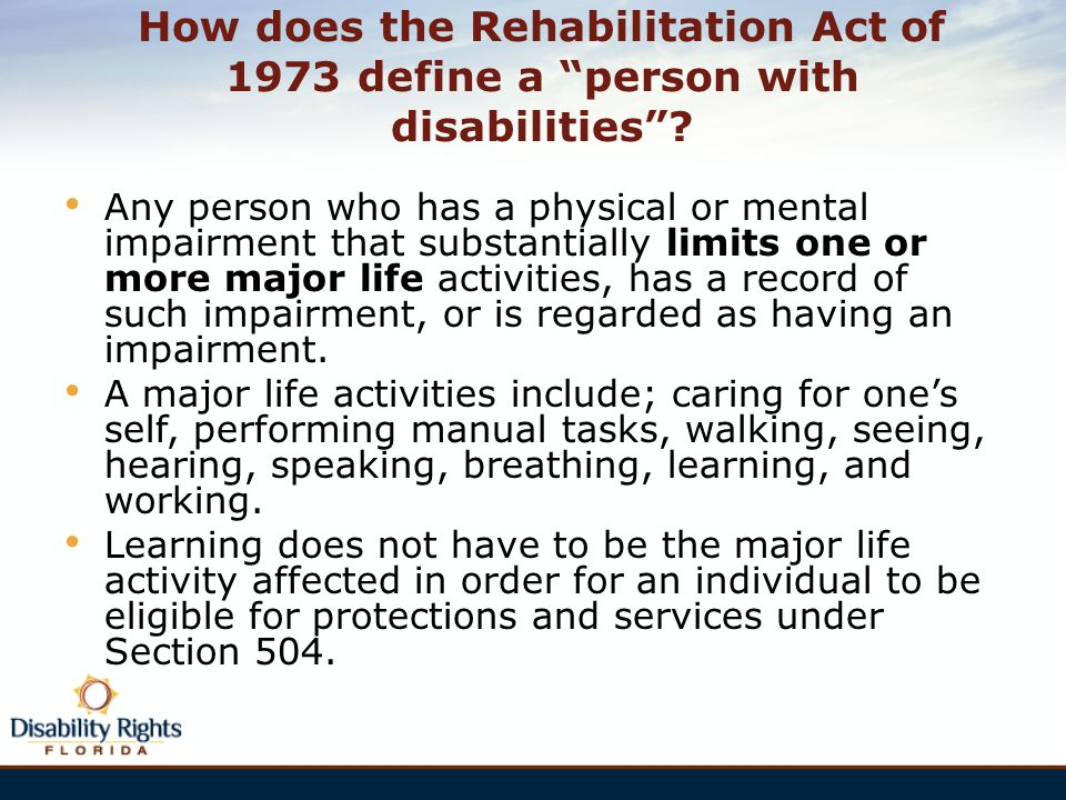 How does the Rehabilitation Act of 1973 define a person with disabilities