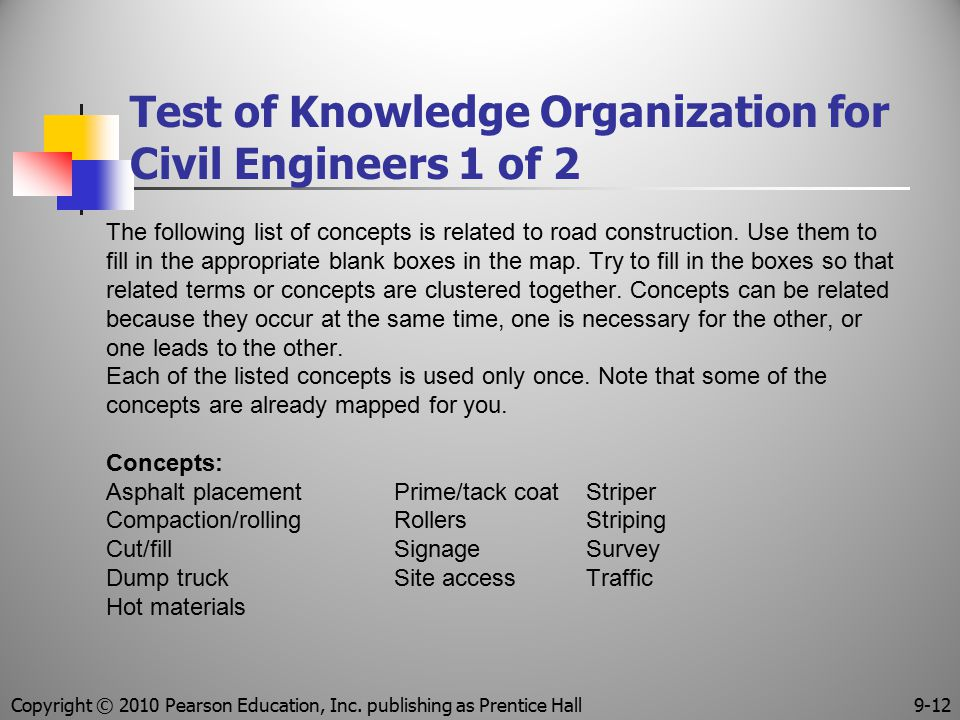 Test of Knowledge Organization for Civil Engineers 1 of 2