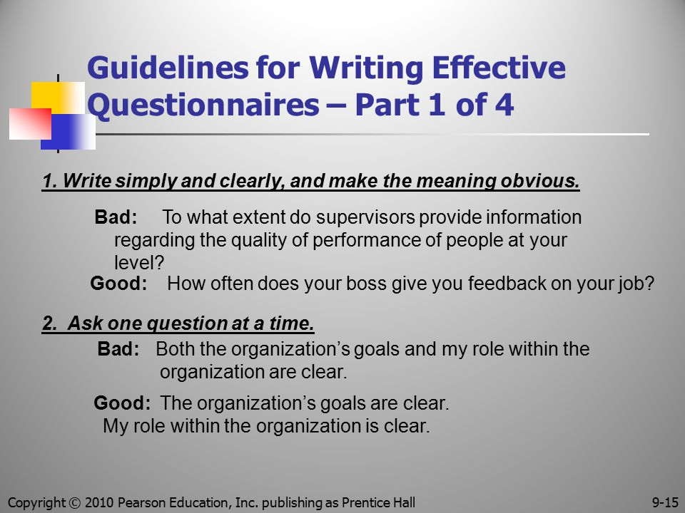 Guidelines for Writing Effective Questionnaires – Part 1 of 4