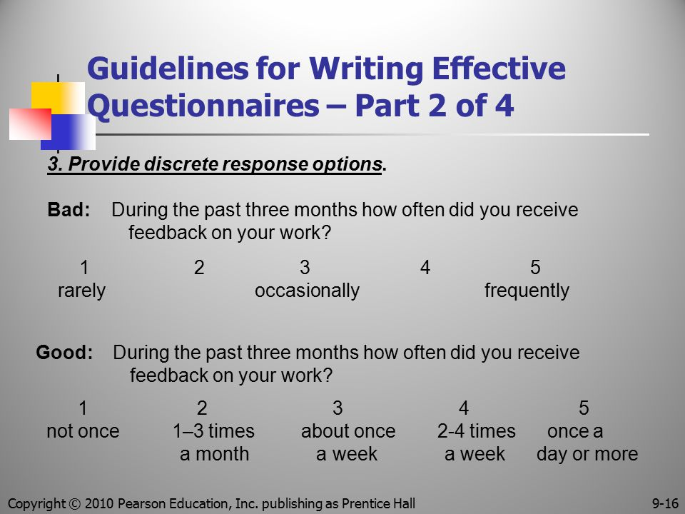 Guidelines for Writing Effective Questionnaires – Part 2 of 4