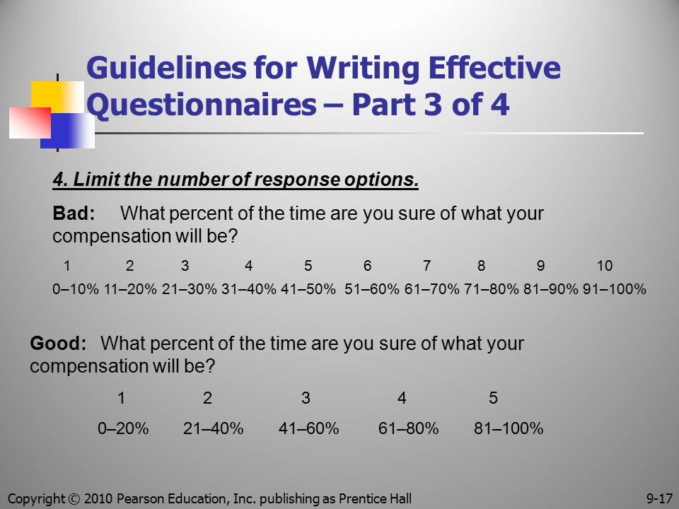 Guidelines for Writing Effective Questionnaires – Part 3 of 4