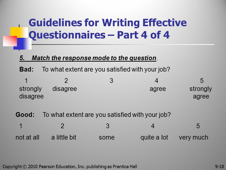 Guidelines for Writing Effective Questionnaires – Part 4 of 4