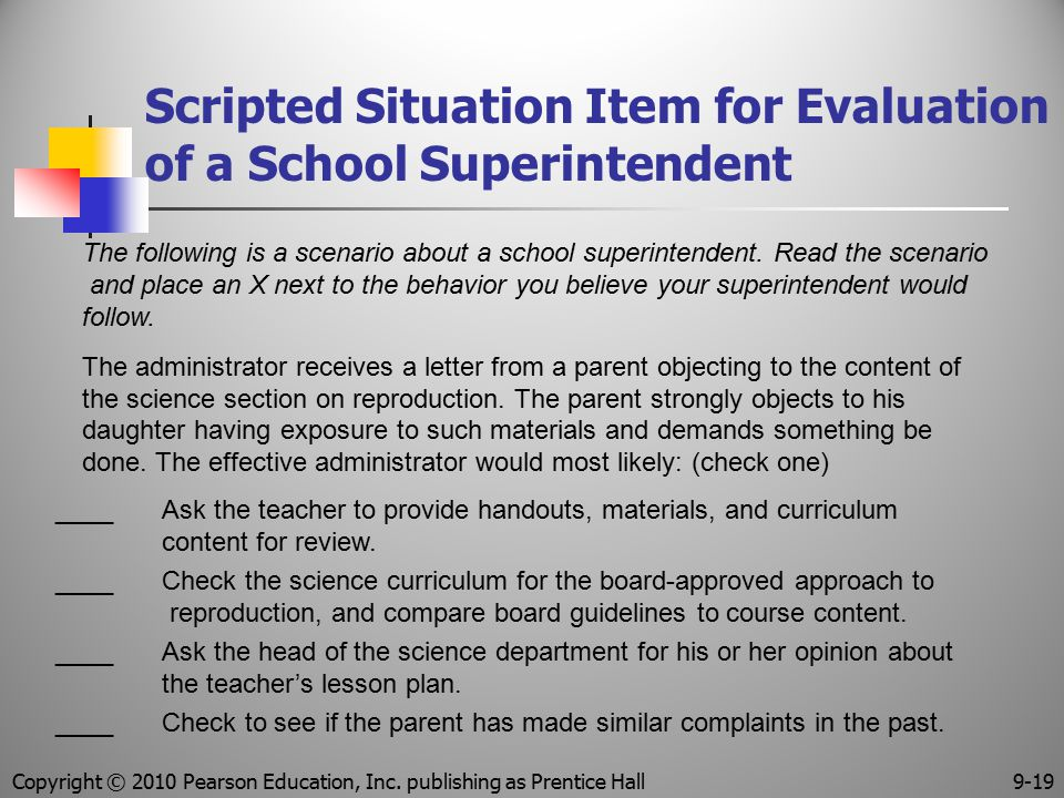 Scripted Situation Item for Evaluation of a School Superintendent