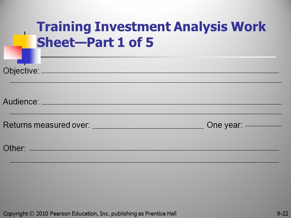 Training Investment Analysis Work Sheet—Part 1 of 5