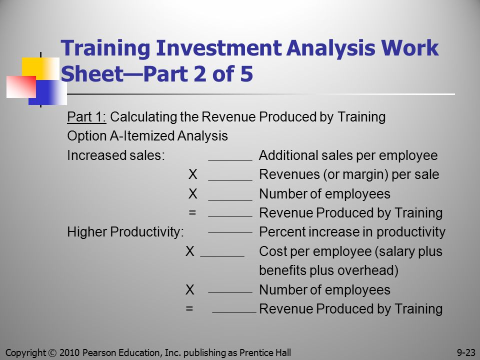 Training Investment Analysis Work Sheet—Part 2 of 5