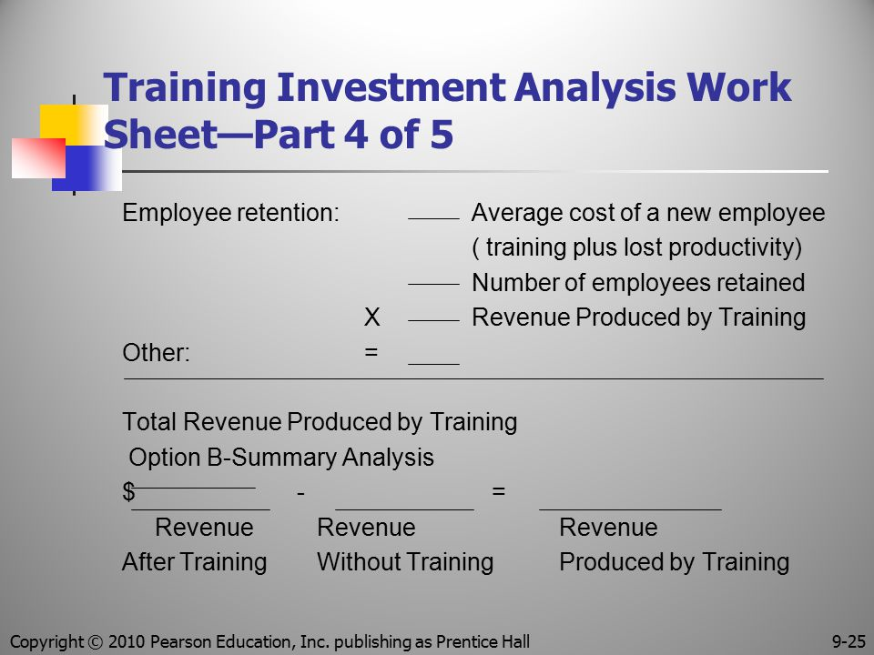 Training Investment Analysis Work Sheet—Part 4 of 5