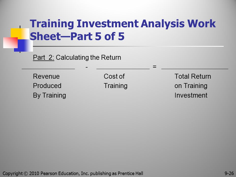 Training Investment Analysis Work Sheet—Part 5 of 5