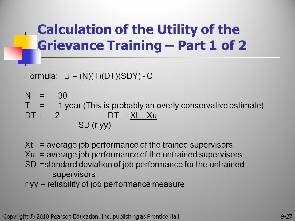 Calculation of the Utility of the Grievance Training – Part 1 of 2