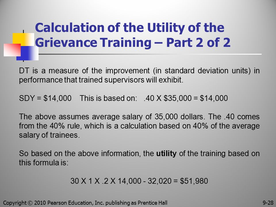Calculation of the Utility of the Grievance Training – Part 2 of 2