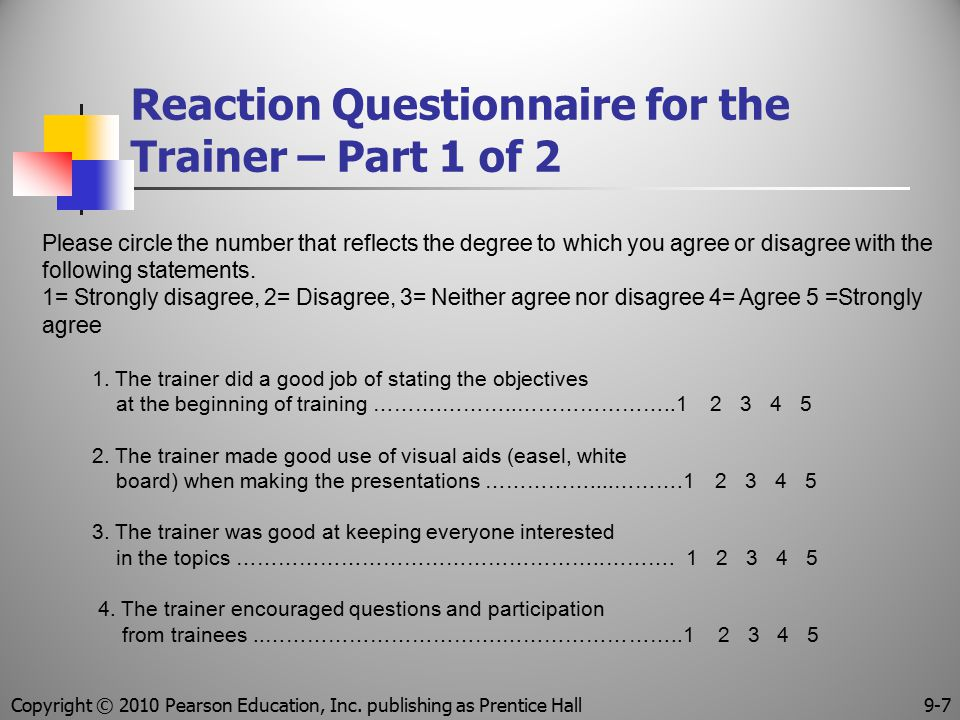 Reaction Questionnaire for the Trainer – Part 1 of 2