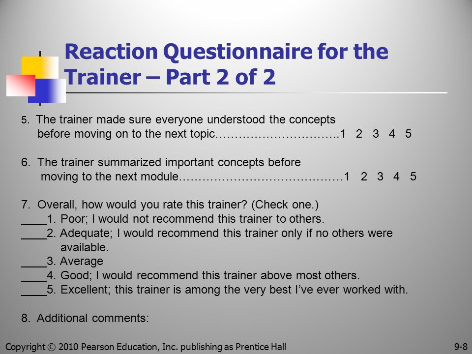 Reaction Questionnaire for the Trainer – Part 2 of 2