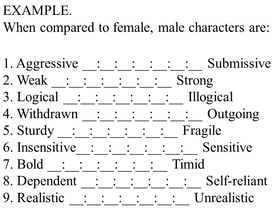 EXAMPLE. When compared to female, male characters are: 1. Aggressive __:__:__:__:__:__:__ Submissive.