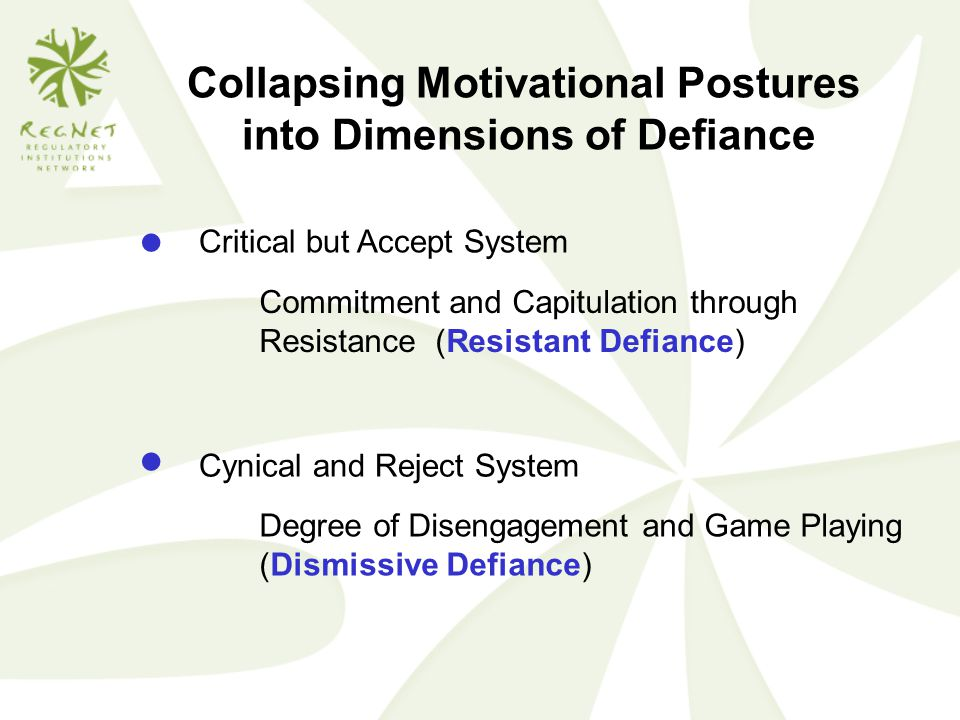 Collapsing Motivational Postures into Dimensions of Defiance