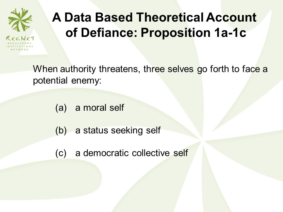A Data Based Theoretical Account of Defiance: Proposition 1a-1c