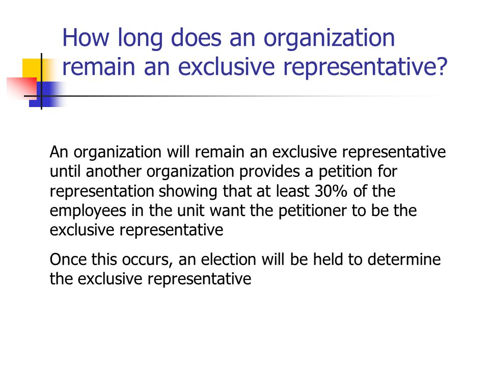 How long does an organization remain an exclusive representative