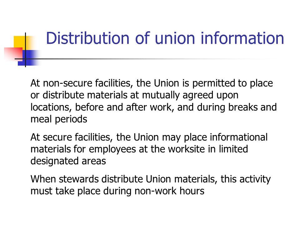 Distribution of union information