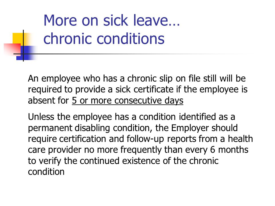 More on sick leave… chronic conditions
