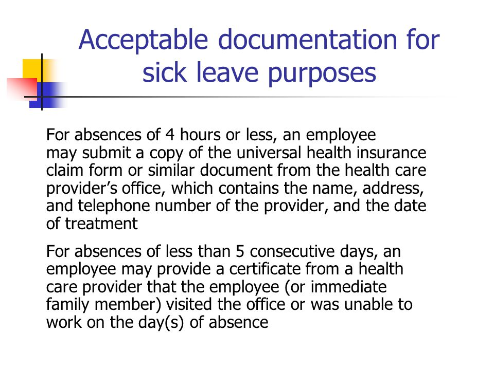 Acceptable documentation for sick leave purposes