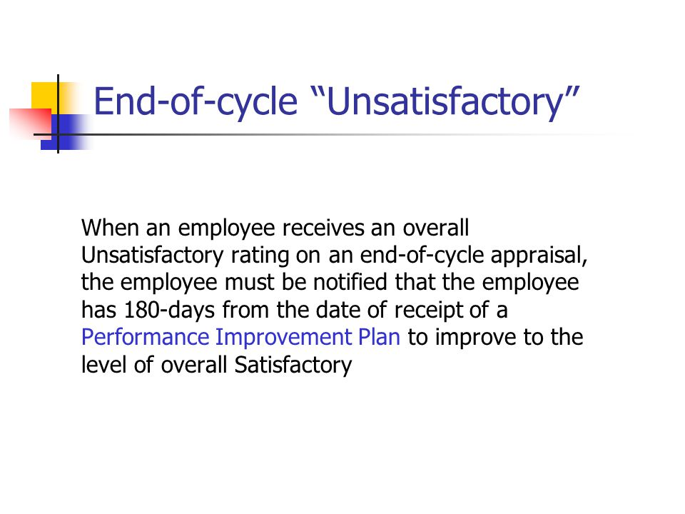 End-of-cycle Unsatisfactory