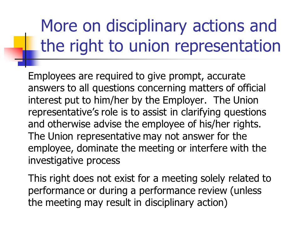 More on disciplinary actions and the right to union representation