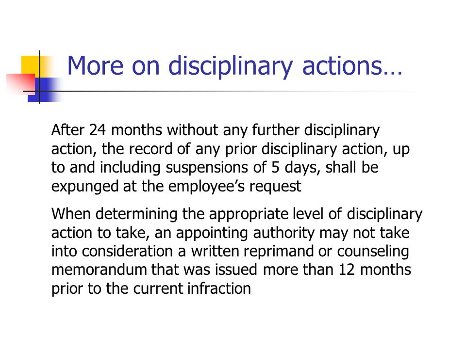 More on disciplinary actions…