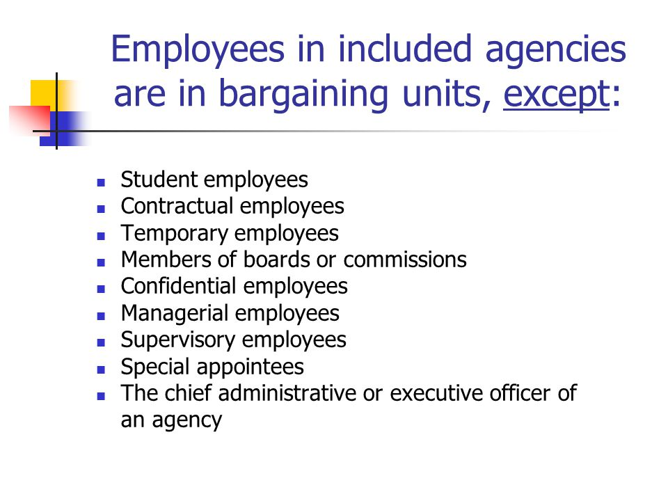 Employees in included agencies are in bargaining units, except: