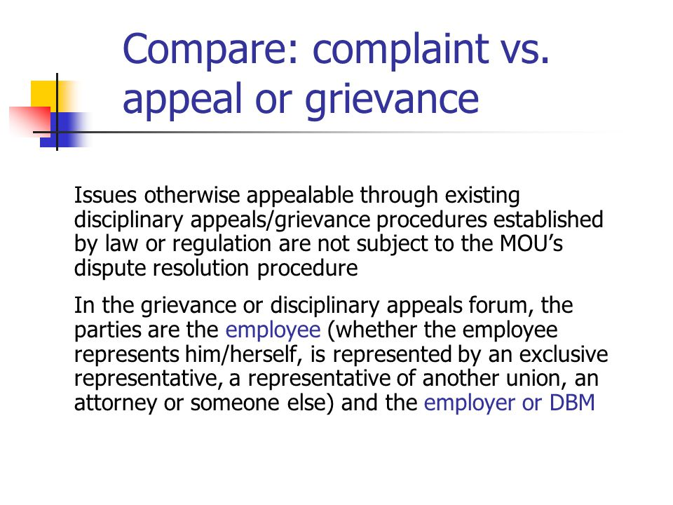 Compare: complaint vs. appeal or grievance