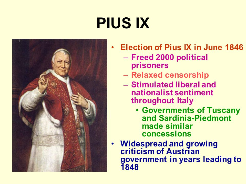 PIUS IX Election of Pius IX in June 1846