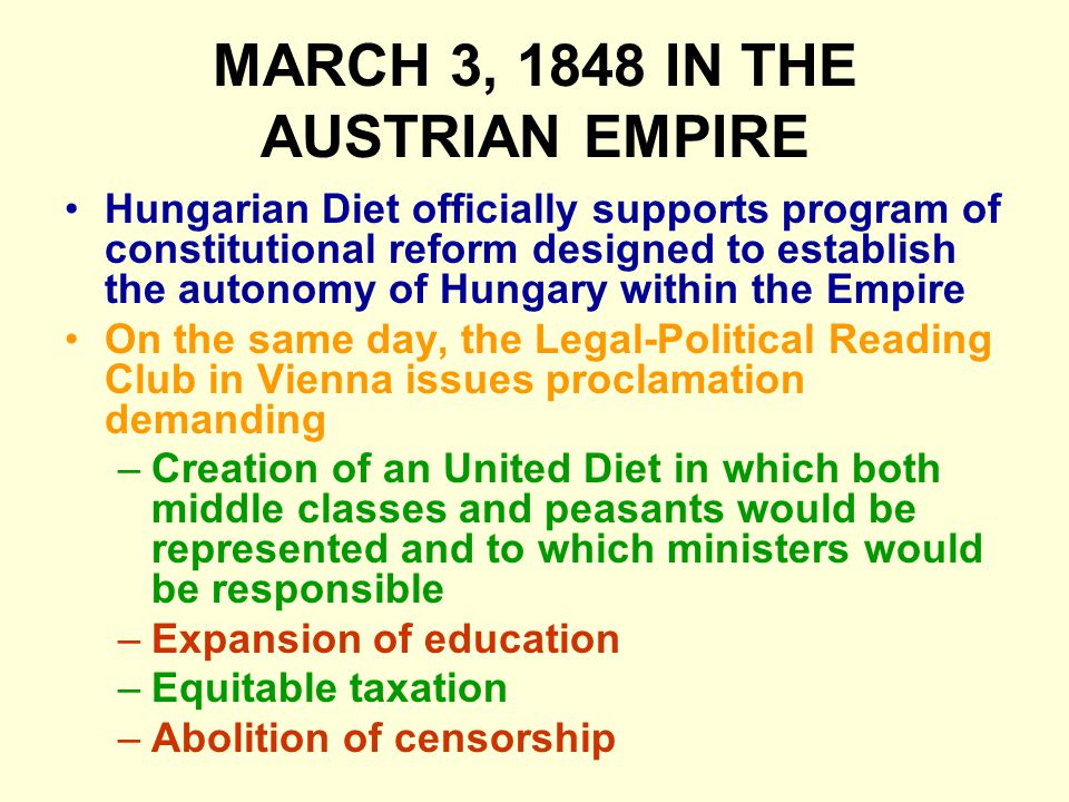 MARCH 3, 1848 IN THE AUSTRIAN EMPIRE