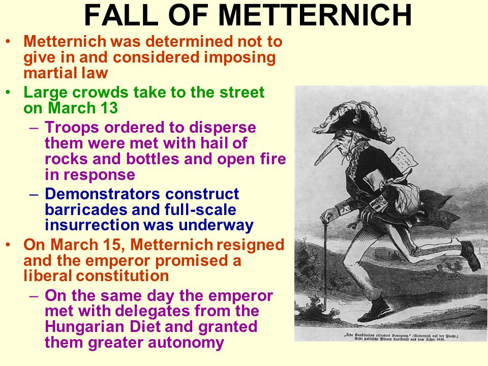 FALL OF METTERNICH Metternich was determined not to give in and considered imposing martial law. Large crowds take to the street on March 13.