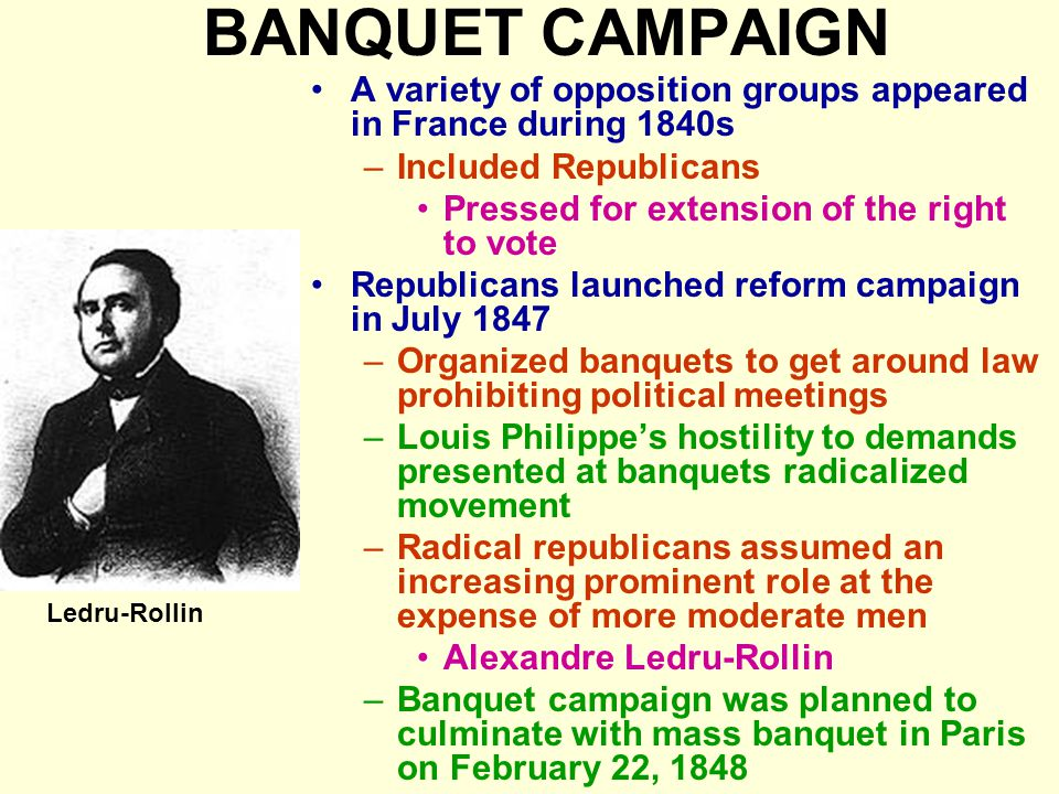 BANQUET CAMPAIGN A variety of opposition groups appeared in France during 1840s. Included Republicans.
