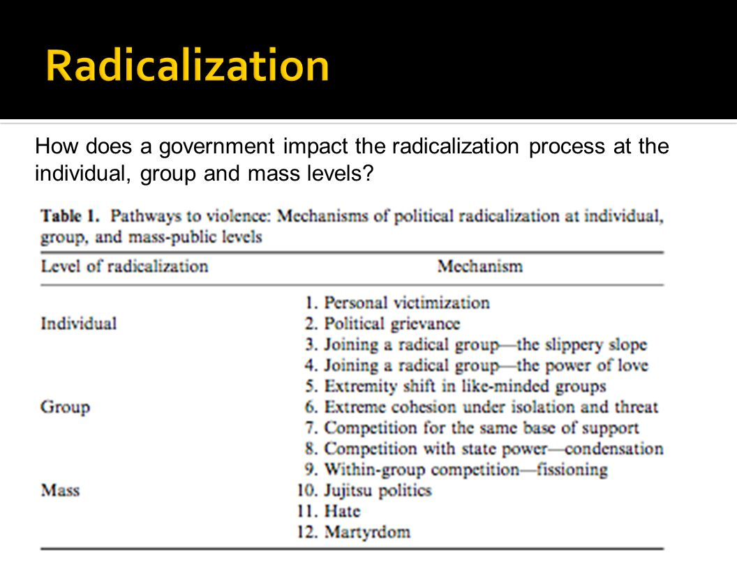 Radicalization How does a government impact the radicalization process at the individual, group and mass levels